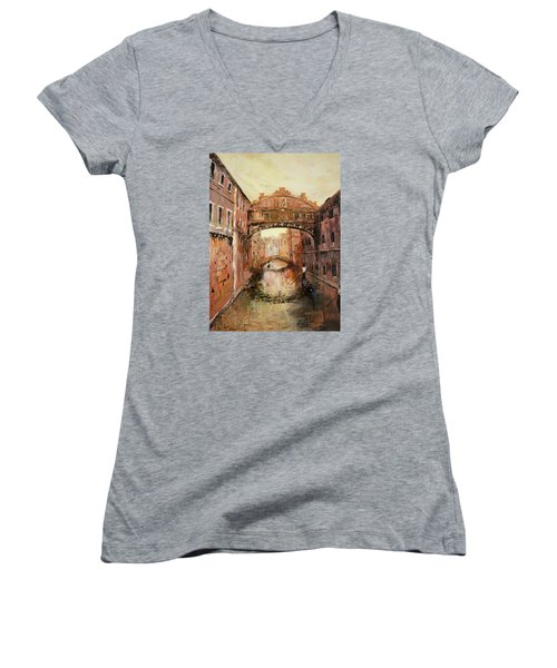 The Bridge Of Sighs Venice Italy Women's V-Neck T-Shirt (Junior Cut) by Jean Walker