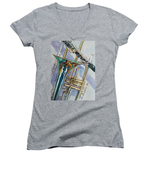 The Color Of Music Women's V-Neck T-Shirt (Junior Cut) by Jenny Armitage