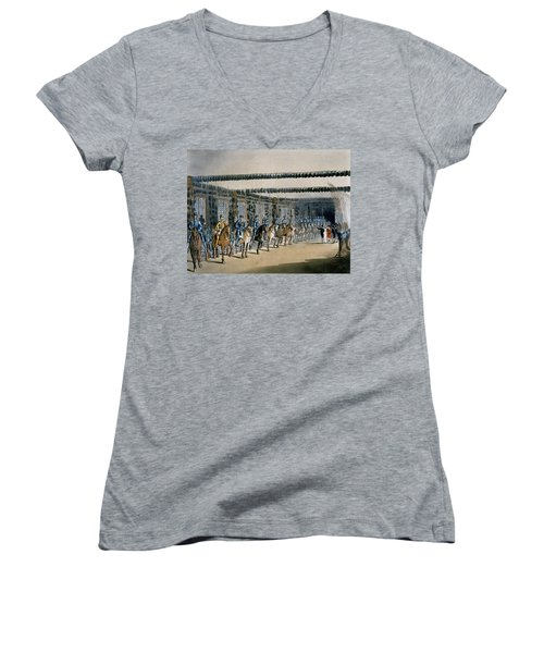 The Horse Armour Tower, Print Made Women's V-Neck T-Shirt (Junior Cut) by T. & Pugin, A.C. Rowlandson