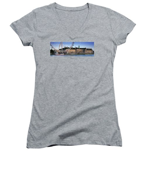 The London Eye And County Hall Women's V-Neck T-Shirt (Junior Cut) by Rod McLean