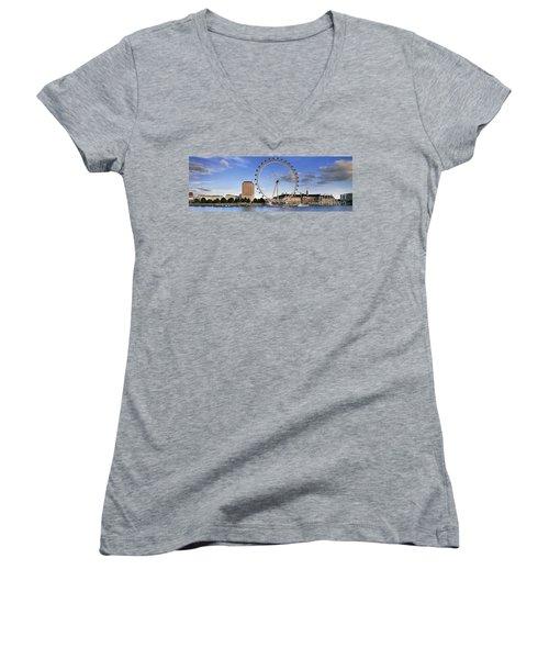 The London Eye Women's V-Neck T-Shirt (Junior Cut) by Rod McLean