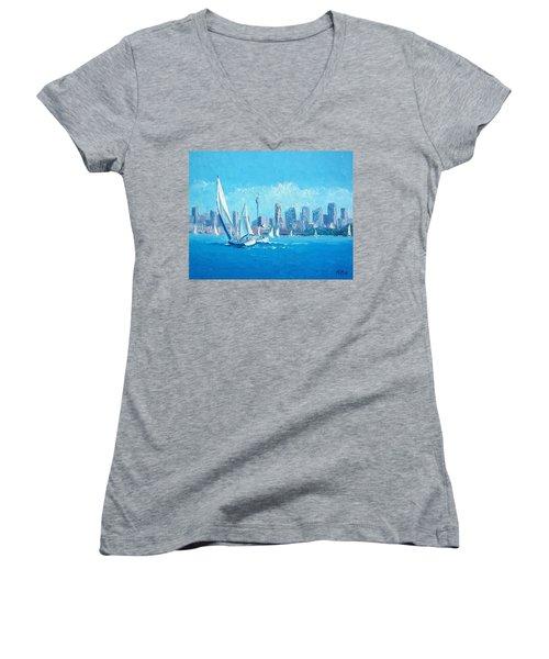The Regatta Sydney Habour By Jan Matson Women's V-Neck T-Shirt (Junior Cut) by Jan Matson