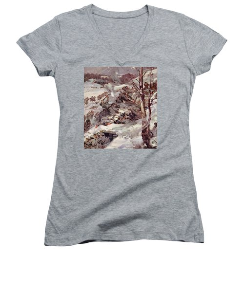 The Russians Fighting Their Way Over The Carpathians Women's V-Neck T-Shirt (Junior Cut) by Cyrus Cuneo