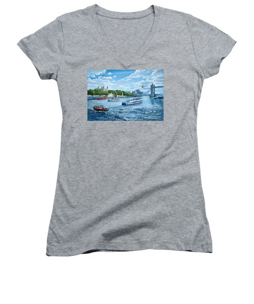 The Tower Of London Women's V-Neck T-Shirt (Junior Cut) by Steve Crisp