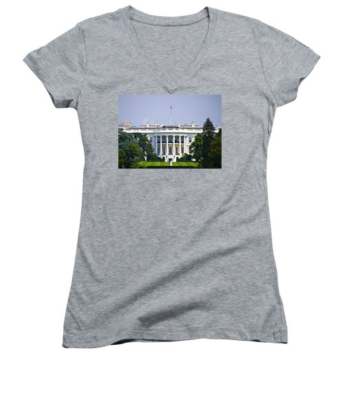The Whitehouse - Washington Dc Women's V-Neck T-Shirt (Junior Cut) by Bill Cannon