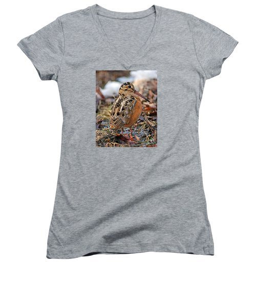 Timberdoodle The American Woodcock Women's V-Neck T-Shirt (Junior Cut) by Timothy Flanigan
