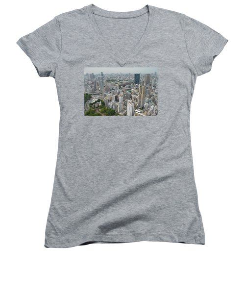 Tokyo Intersection Skyline View From Tokyo Tower Women's V-Neck T-Shirt (Junior Cut) by Jeff at JSJ Photography