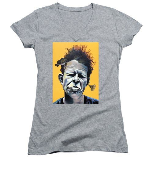 Tom Waits - He's Big In Japan Women's V-Neck T-Shirt (Junior Cut) by Kelly Jade King
