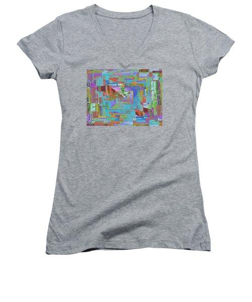 Topographic Albatross Women's V-Neck T-Shirt (Junior Cut) by Tim Allen