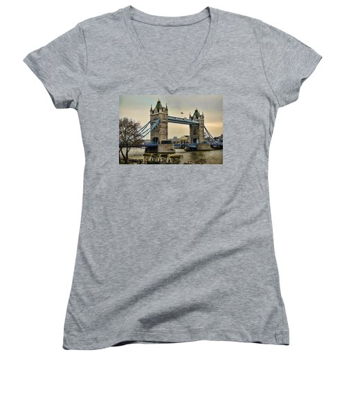 Tower Bridge On The River Thames Women's V-Neck T-Shirt (Junior Cut) by Heather Applegate