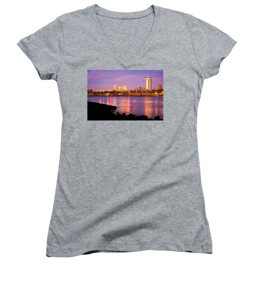 Tulsa Oklahoma - University Tower View Women's V-Neck T-Shirt (Junior Cut) by Gregory Ballos
