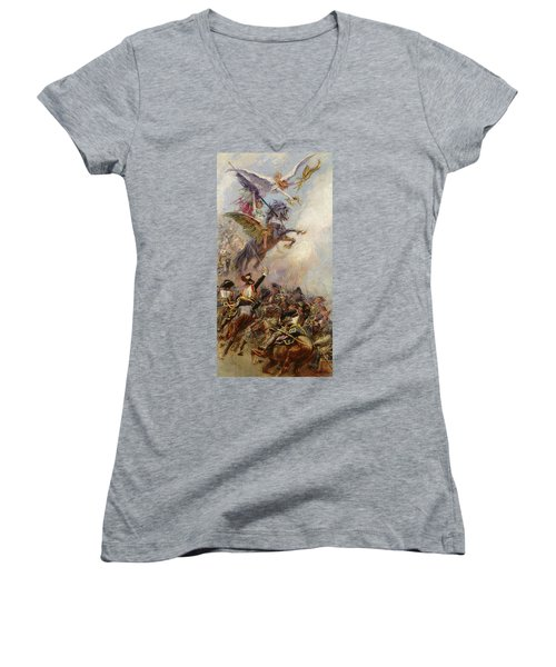 Victory Women's V-Neck T-Shirt (Junior Cut) by Jean-Baptiste Edouard Detaille