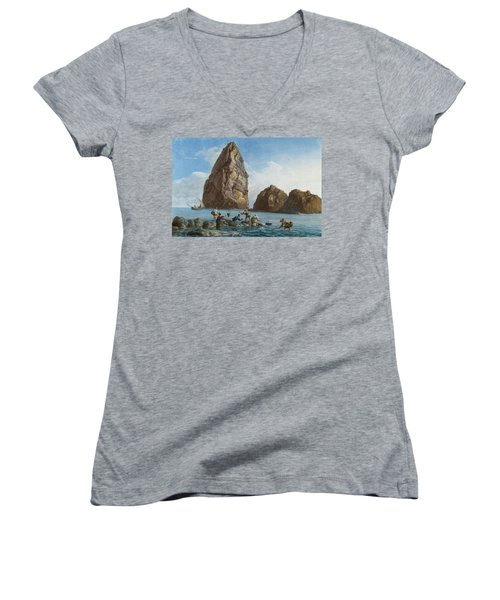 View Of The Rocks On The Third Island Of Cyclops Women's V-Neck T-Shirt (Junior Cut) by Jean-Pierre-Louis-Laurent Houel