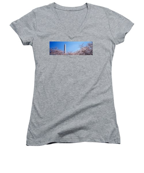Washington Monument Behind Cherry Women's V-Neck T-Shirt (Junior Cut) by Panoramic Images