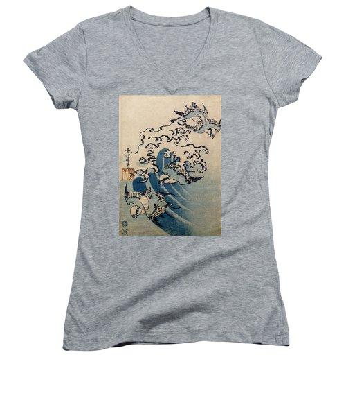 Waves And Birds Women's V-Neck T-Shirt (Junior Cut) by Katsushika Hokusai