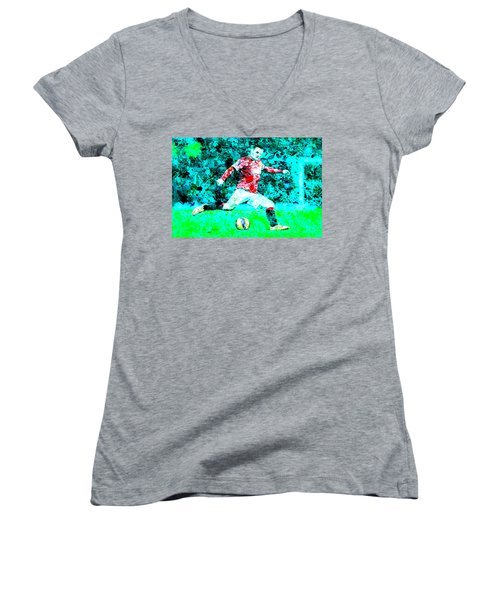 Wayne Rooney Splats Women's V-Neck T-Shirt (Junior Cut) by Brian Reaves