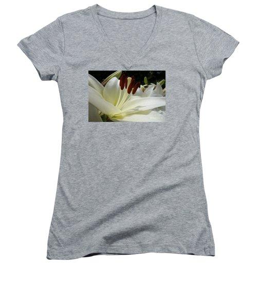 White Asiatic Lily Women's V-Neck T-Shirt (Junior Cut) by Jacqueline Athmann
