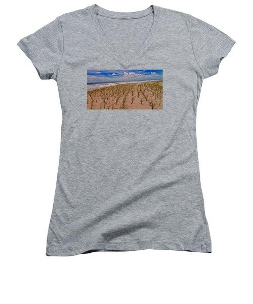 Wildwood Beach Breezes  Women's V-Neck T-Shirt (Junior Cut) by David Dehner