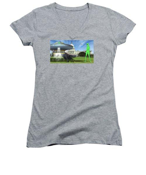 Wip - Washington Field Trip Women's V-Neck T-Shirt (Junior Cut) by Mike McGlothlen