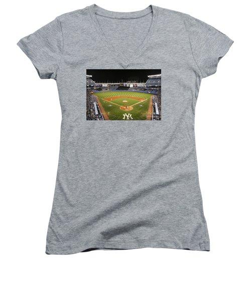 Yankee Stadium Women's V-Neck T-Shirt (Junior Cut) by Chuck Spang