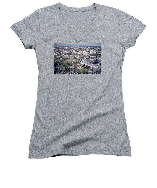 Yankee Stadium Women's V-Neck T-Shirt (Junior Cut) by Mountain Dreams