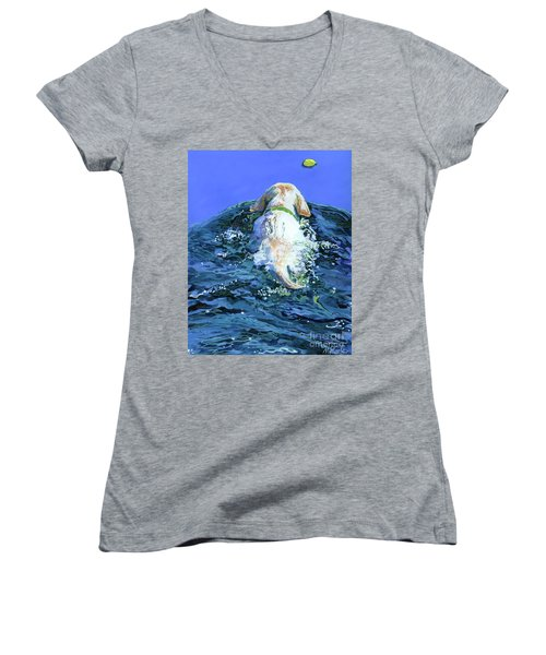 Yellow Lab  Blue Wake Women's V-Neck T-Shirt (Junior Cut) by Molly Poole