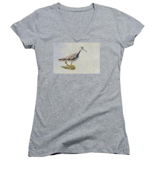 Yellowlegs Women's V-Neck T-Shirt (Junior Cut) by Bill Wakeley
