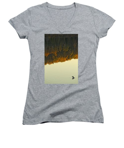 Loon In Opeongo Lake With Reflection Women's V-Neck T-Shirt (Junior Cut) by Robert Postma