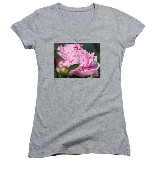 Peony Named Shirley Temple Women's V-Neck T-Shirt (Junior Cut) by J McCombie