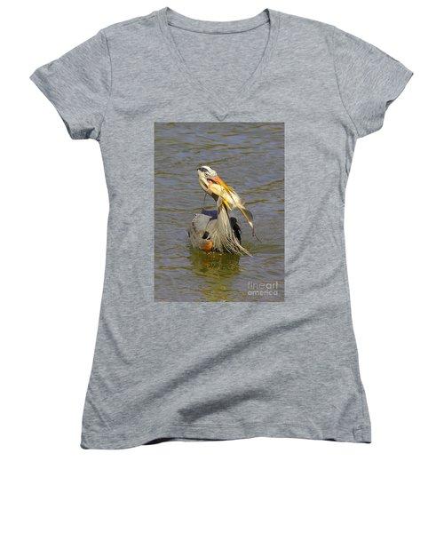 Bigger Fish To Fry Women's V-Neck T-Shirt (Junior Cut) by Robert Frederick