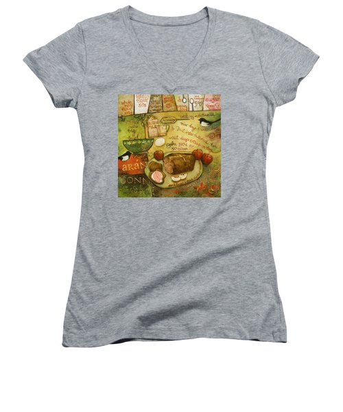 Irish Brown Bread Women's V-Neck T-Shirt (Junior Cut) by Jen Norton