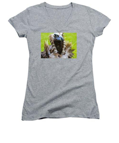 Monk Vulture 4 Women's V-Neck T-Shirt (Junior Cut) by Heiko Koehrer-Wagner