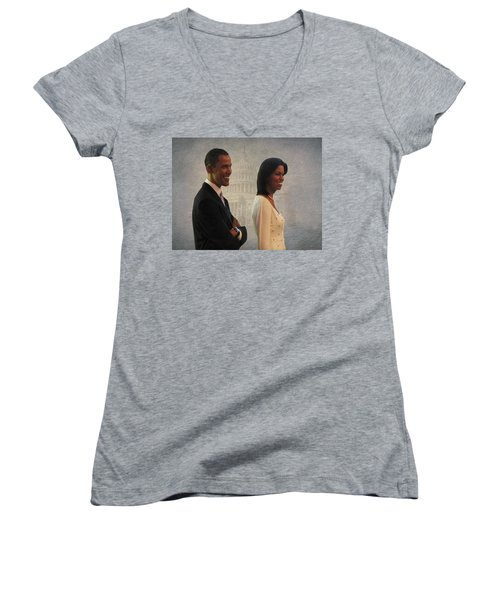 President Obama And First Lady Women's V-Neck T-Shirt (Junior Cut) by David Dehner