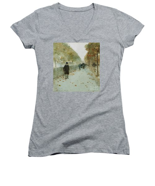 Quai Du Louvre Women's V-Neck T-Shirt (Junior Cut) by Childe Hassam