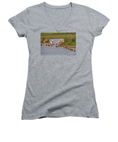 Roseate Spoonbills And Snowy Egrets Women's V-Neck T-Shirt (Junior Cut) by Louise Heusinkveld