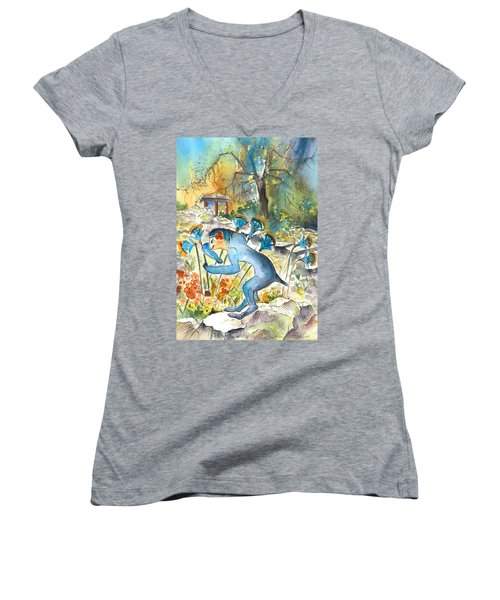 The Minotaur In Knossos Women's V-Neck T-Shirt (Junior Cut) by Miki De Goodaboom