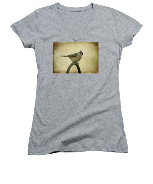 Tufted Titmouse II Women's V-Neck T-Shirt (Junior Cut) by Sandy Keeton