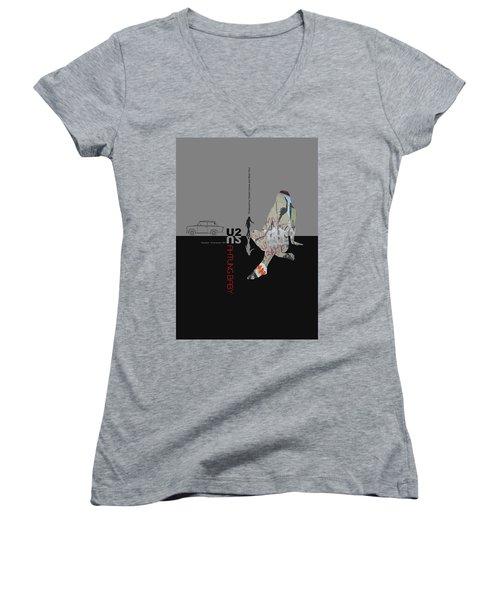 U2 Poster Women's V-Neck T-Shirt (Junior Cut) by Naxart Studio