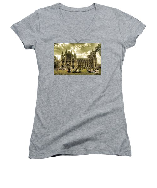 Westminster Abbey Women's V-Neck T-Shirt (Junior Cut) by Rob Hawkins