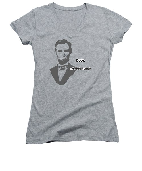 Abebroham Lincoln Women's V-Neck T-Shirt (Junior Cut) by Michelle Murphy