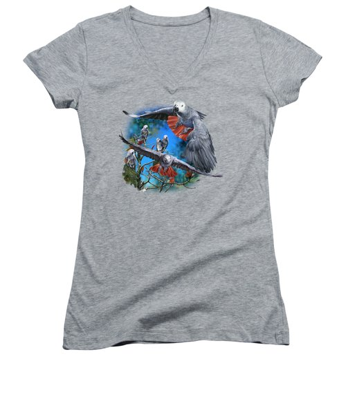 African Grey Parrots Women's V-Neck T-Shirt (Junior Cut) by Owen Bell