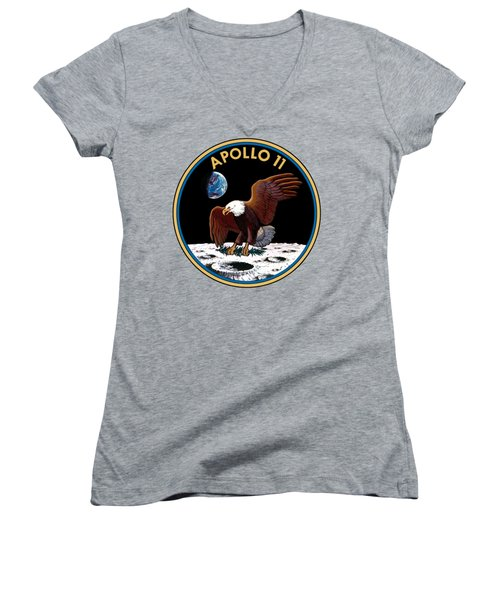 Apollo 11 Women's V-Neck T-Shirt (Junior Cut) by Otis Porritt