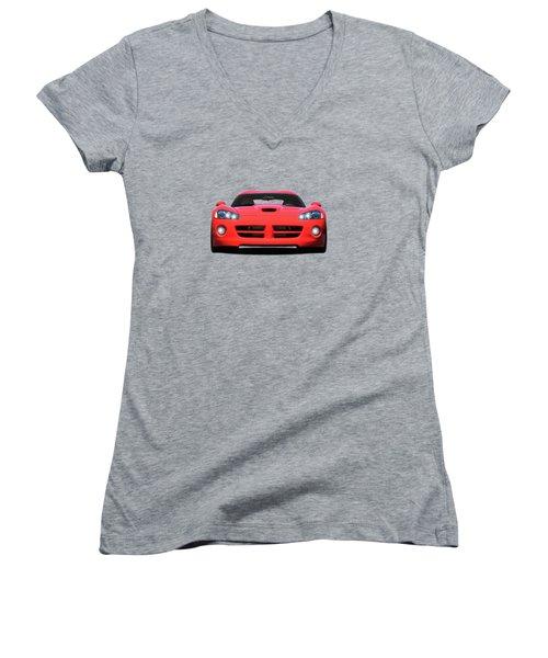 Dodge Viper Women's V-Neck T-Shirt (Junior Cut) by Mark Rogan