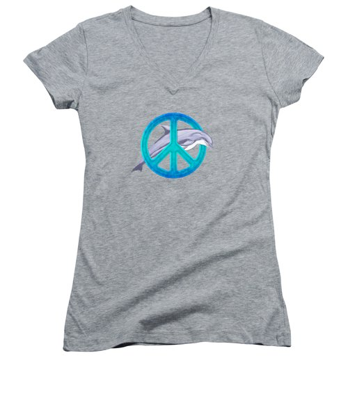 Dolphin Peace Women's V-Neck T-Shirt (Junior Cut) by Chris MacDonald