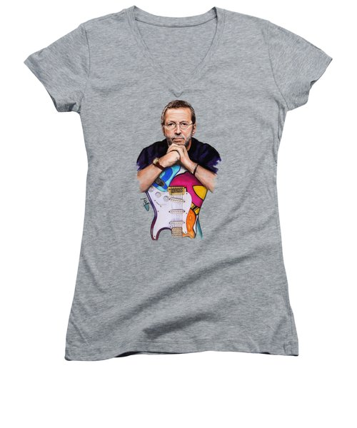 Eric Clapton Women's V-Neck T-Shirt (Junior Cut) by Melanie D