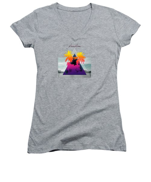 Freedom  Women's V-Neck T-Shirt (Junior Cut) by Mark Ashkenazi