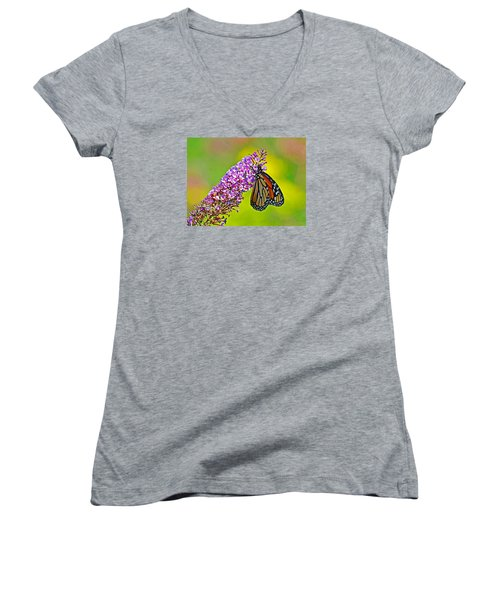 Women's V-Neck T-Shirt (Junior Cut) featuring the photograph Monarch Butterfly by Rodney Campbell