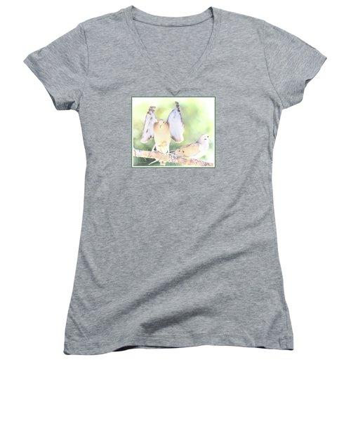 Women's V-Neck T-Shirt (Junior Cut) featuring the digital art Mourning Dove Pair  by A Gurmankin