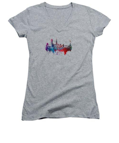 New York City Skyline Blue Women's V-Neck T-Shirt (Junior Cut) by Justyna JBJart