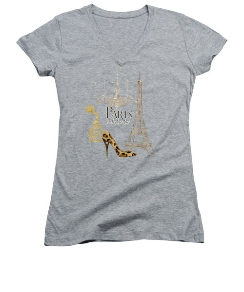 Paris - Ooh La La Fashion Eiffel Tower Chandelier Perfume Bottle Women's V-Neck T-Shirt (Junior Cut) by Audrey Jeanne Roberts
